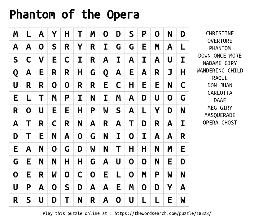 Download Word Search On Phantom Of The Opera