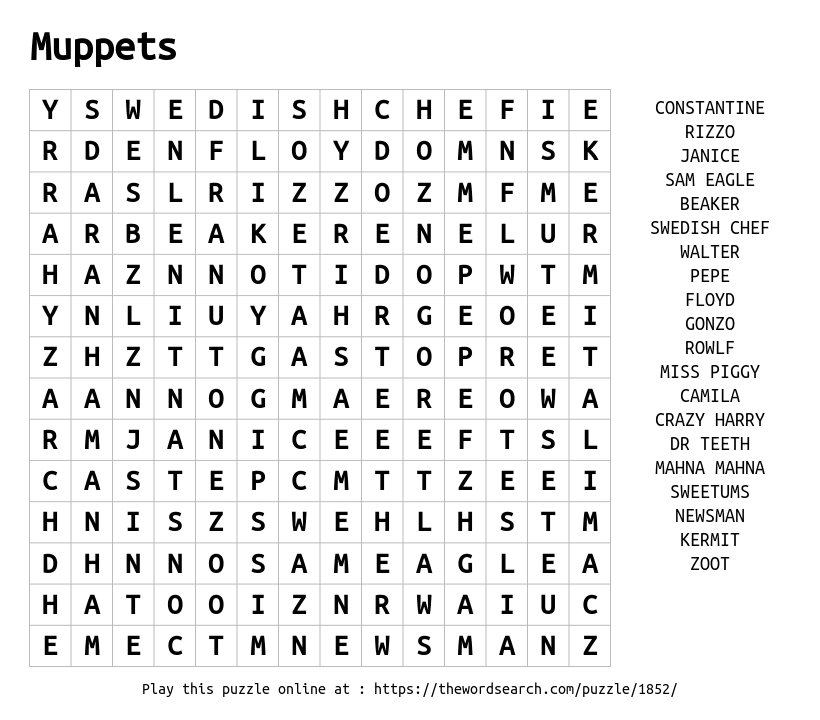 Word Search on Muppets