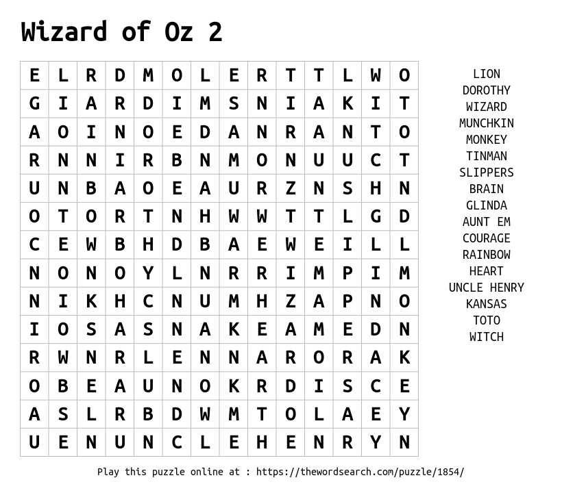 Word Search on Wizard of Oz 2