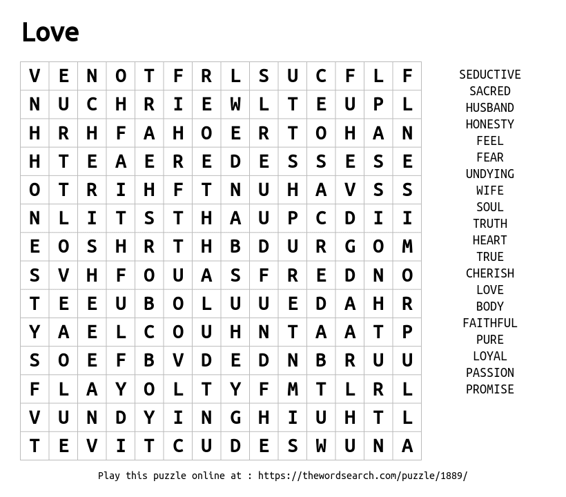Word Search on Love
