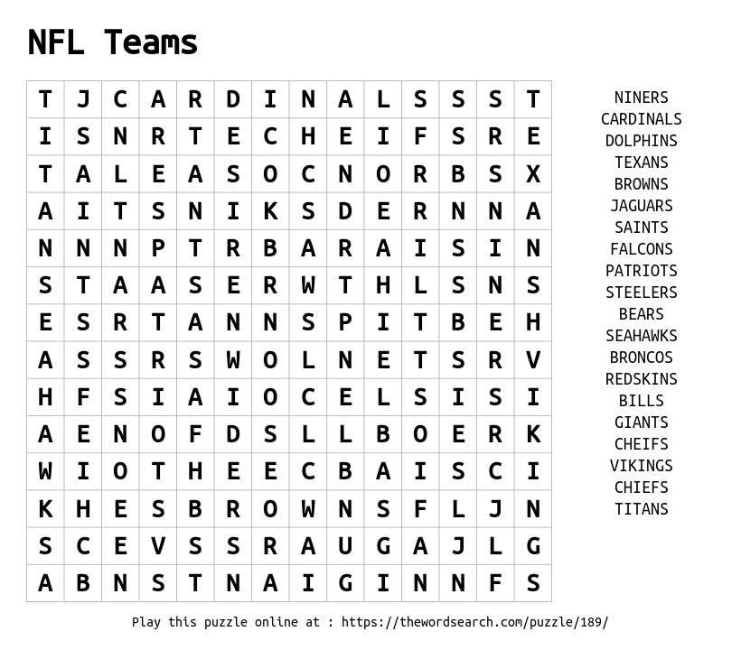 Word Search on NFL Teams