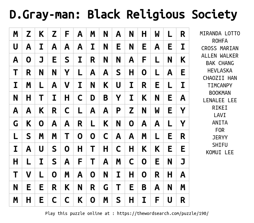 Word Search on D.Gray-man: Black Religious Society