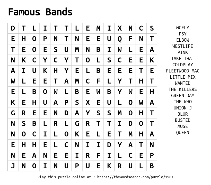 Word Search on Famous Bands
