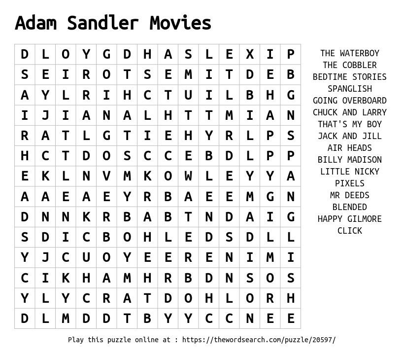 Word Search on Adam Sandler Movies