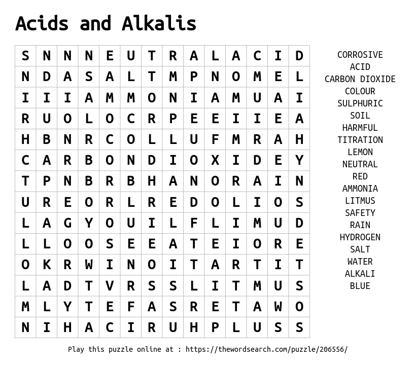 Word Search on Acids and Alkalis