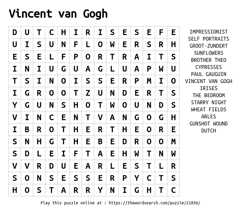 Word Search on Vincent van Gogh