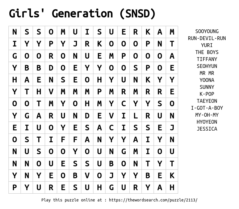 Word Search on Girls' Generation (SNSD)