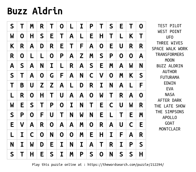 Word Search on Buzz Aldrin
