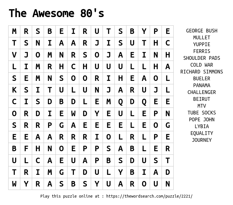 Download Word Search on The Awesome 80's