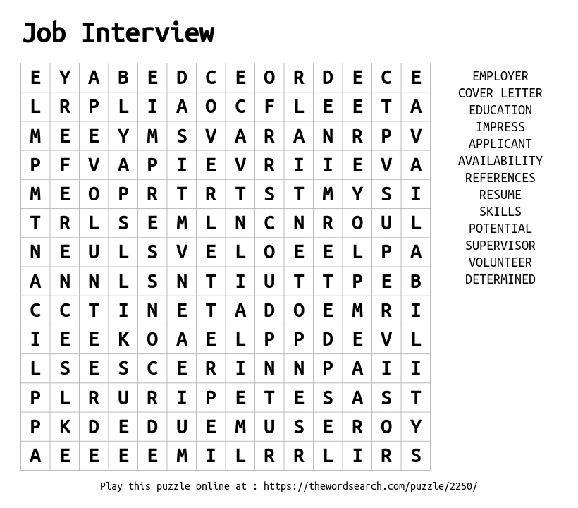 download word search on job interview
