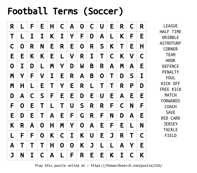 Download Word Search On Football Terms Soccer