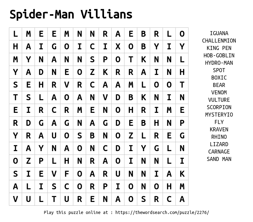 Word Search on Spider-Man Villians