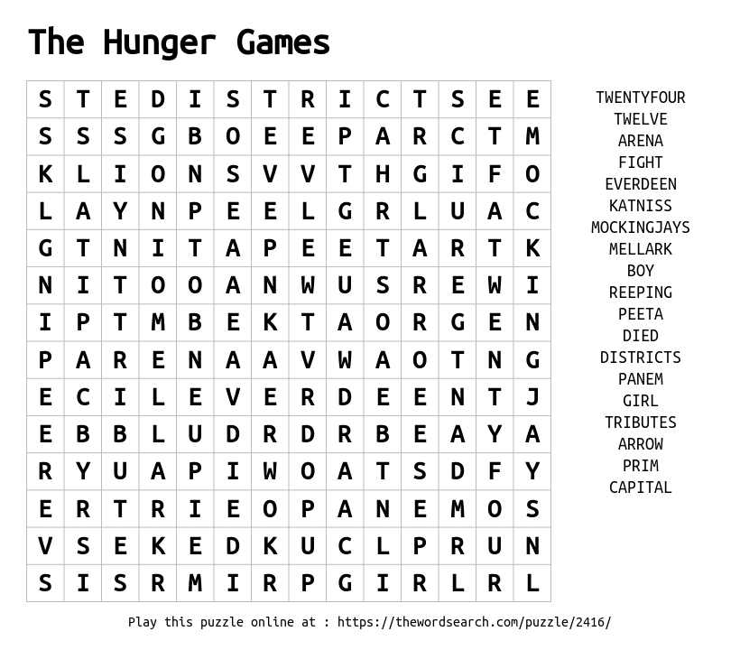Word Search On The Hunger Games