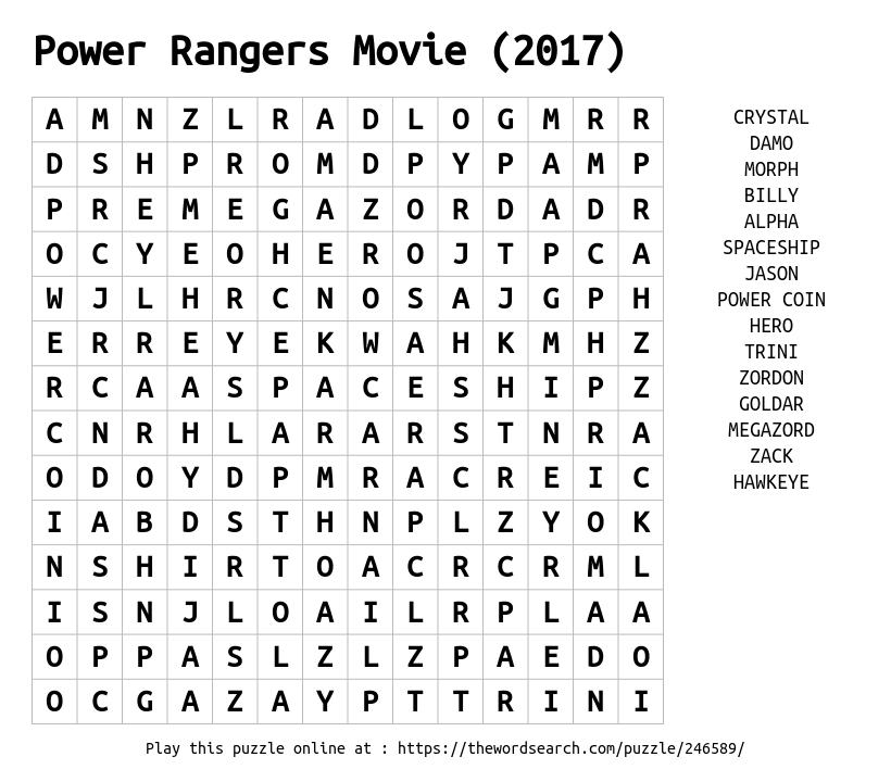 Word Search on Power Rangers Movie (2017)