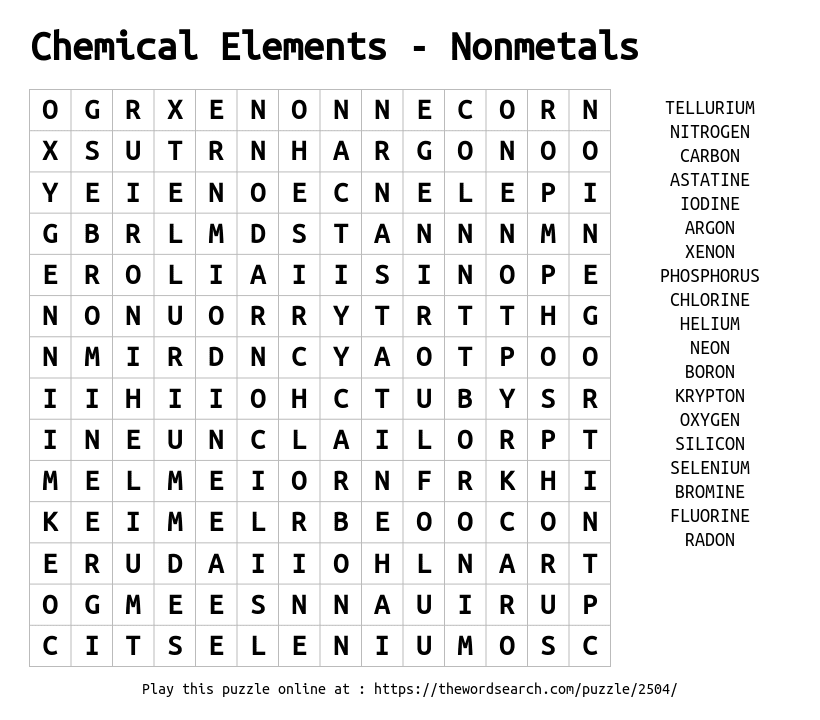 Word Search on Chemical Elements - Nonmetals