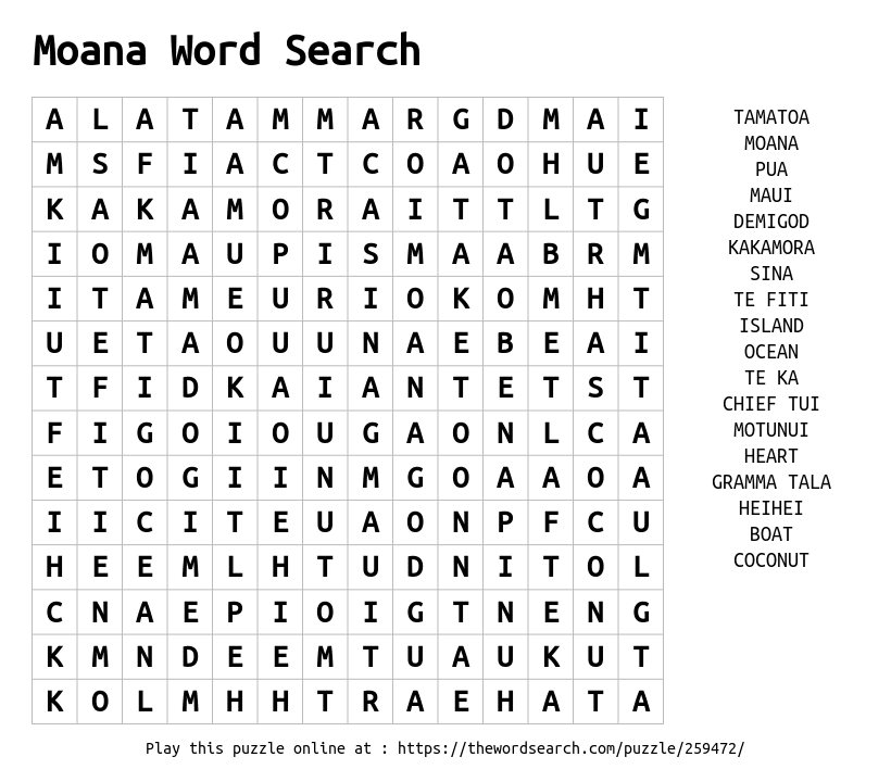 Moana Word Search Word Search