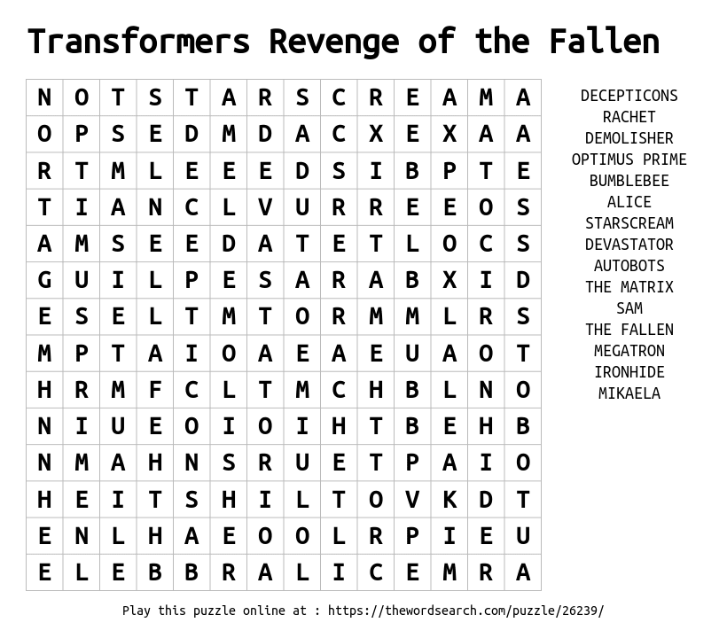 Word Search on Transformers Revenge of the Fallen