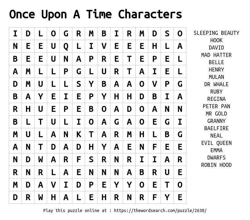 Download Word Search On Once Upon A Time Characters