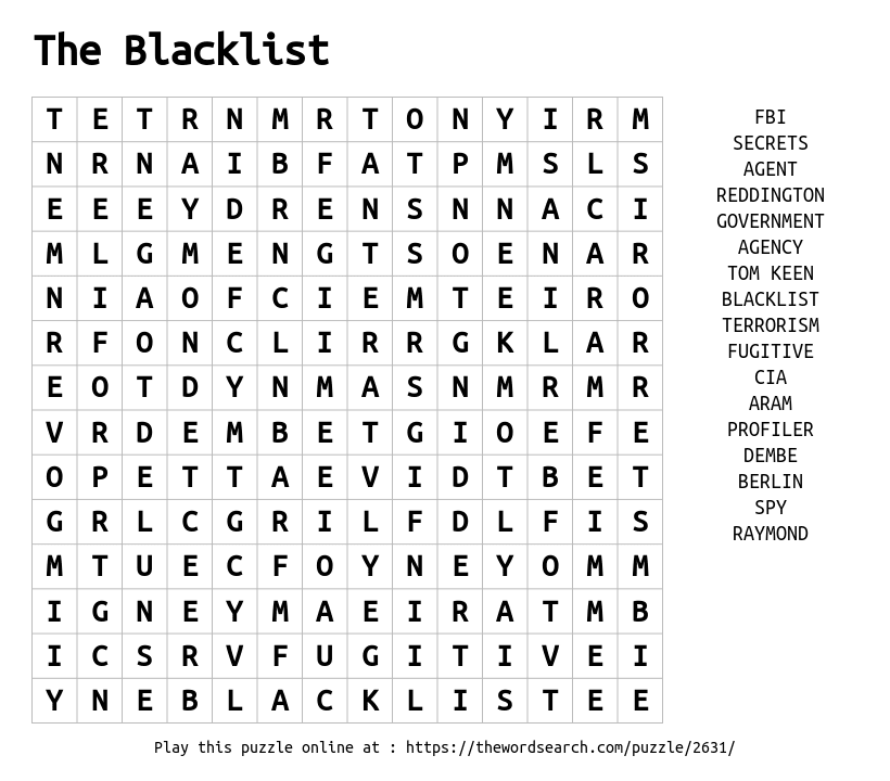 Word Search on The Blacklist