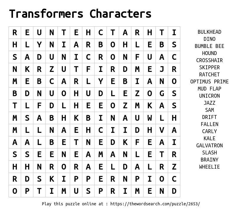Word Search on Transformers Characters