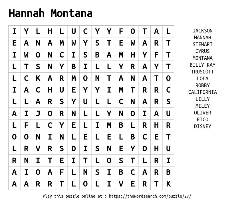 Word Search on Hannah Montana