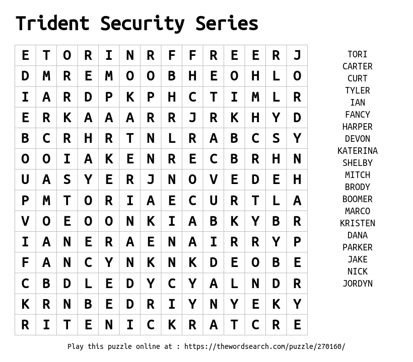 Word Search on Trident Security Series