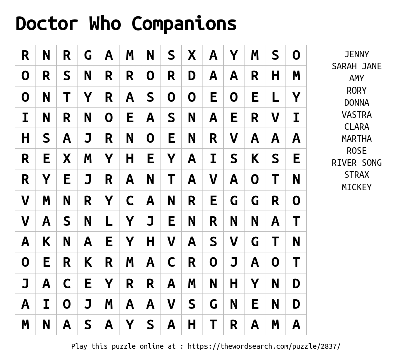 Word Search on Doctor Who Companions