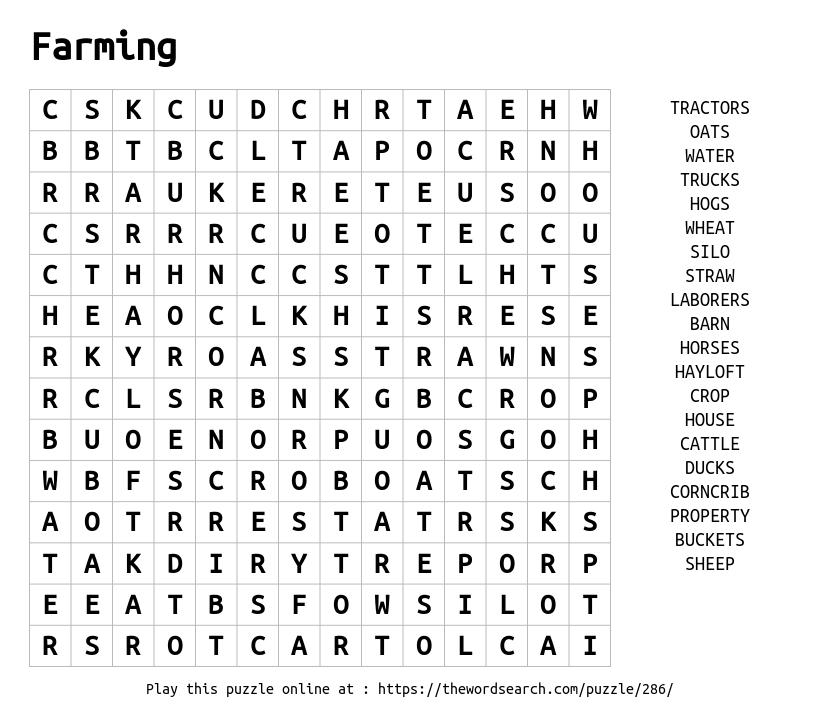 Word Search on Farming