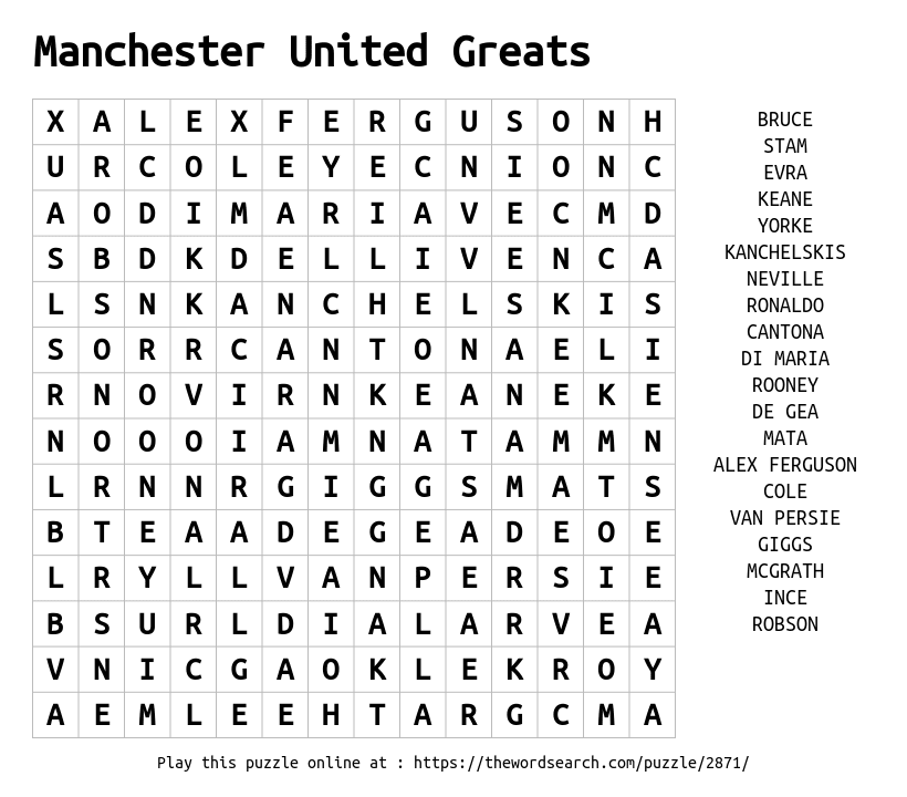 download word search on manchester united greats