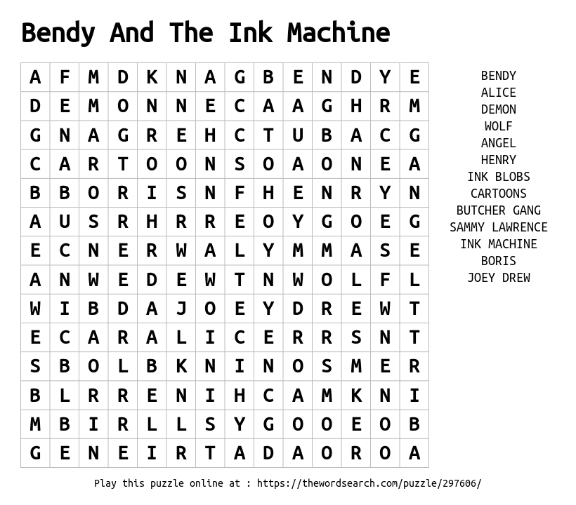 Bendy And The Ink Machine Word Search