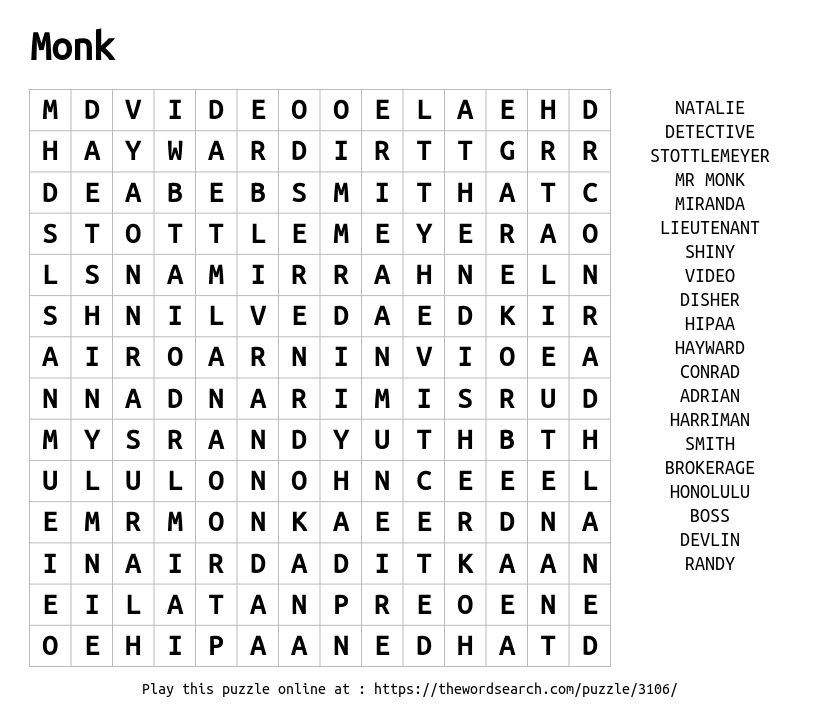 Word Search on Monk