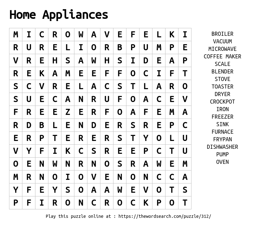 Download Word Search on Home Appliances