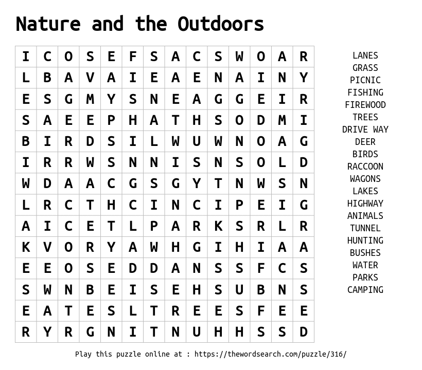 Download Word Search On Nature And The Outdoors