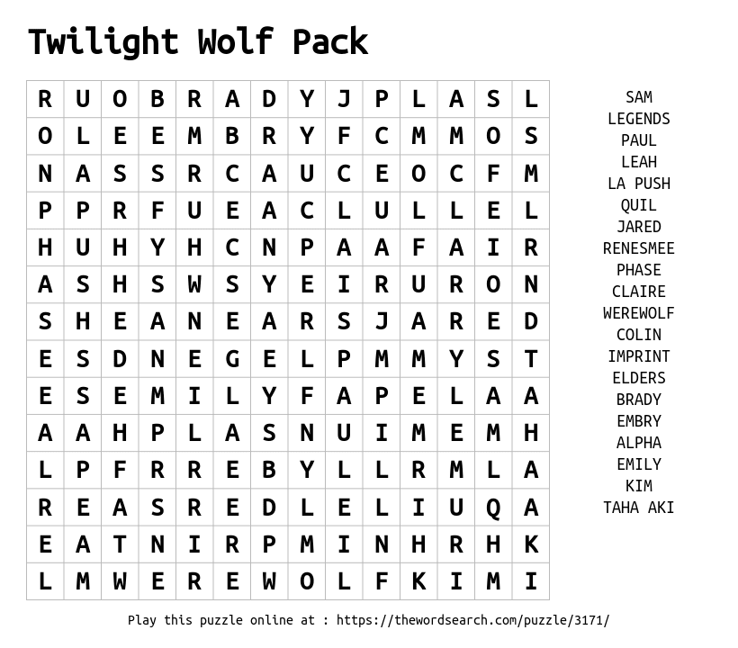 Word Search on Twilight Wolf Pack