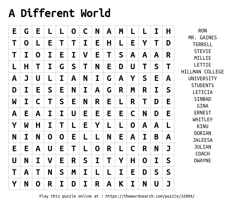 Word Search on A Different World
