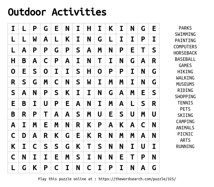 Outdoor Activities Word Search