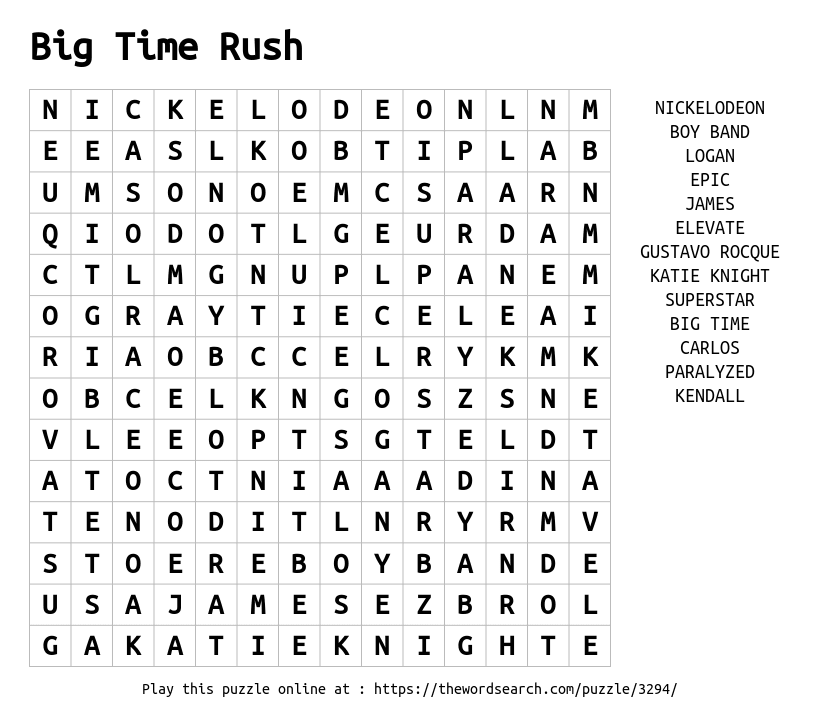 Big Time Rush Word Search