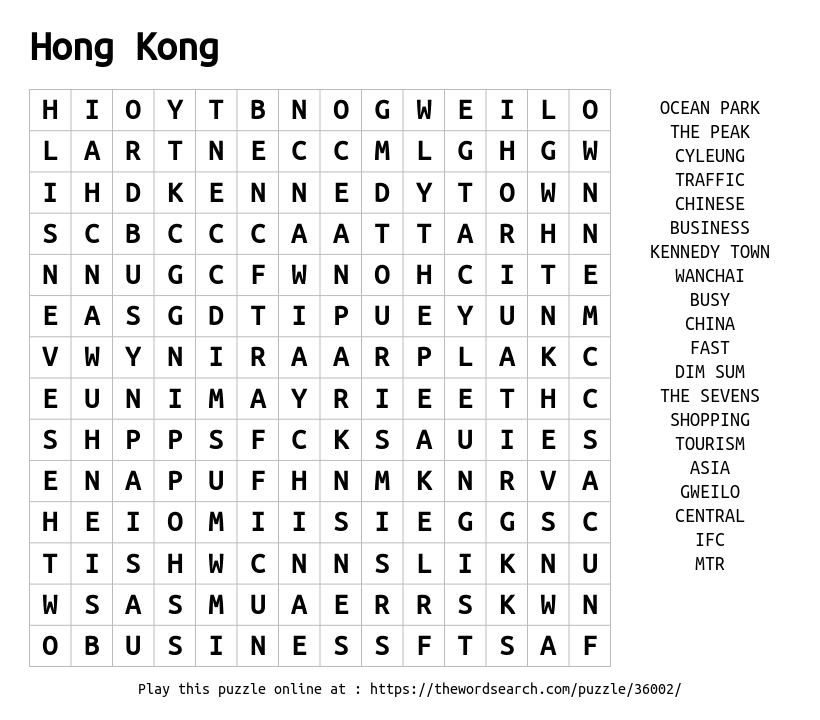 Word Search on Hong Kong