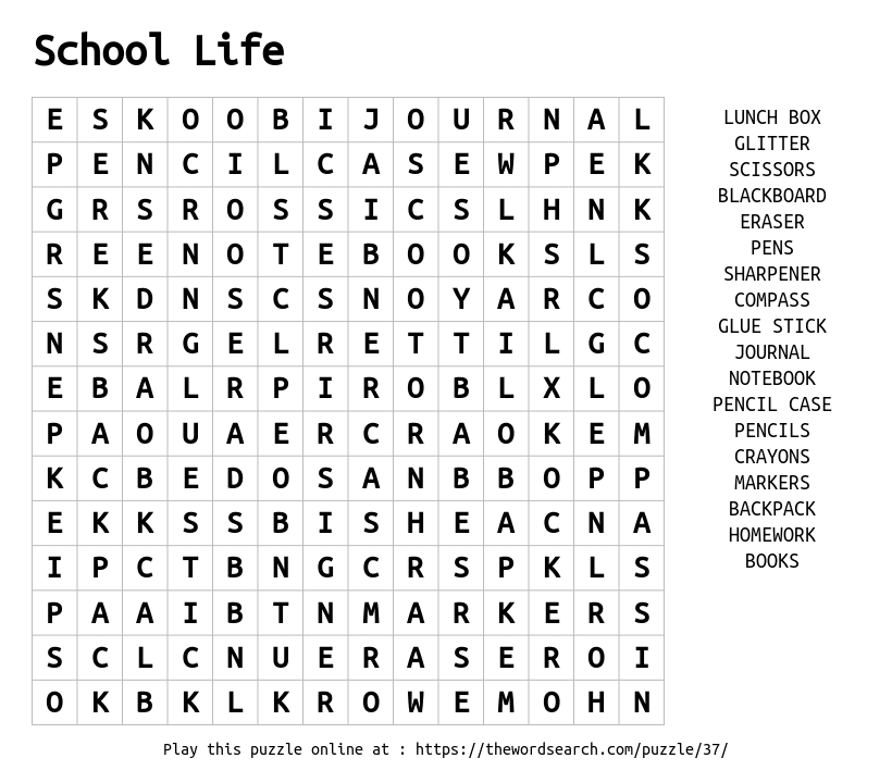 Word Search on School Life