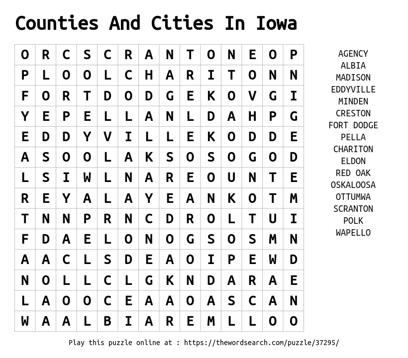 Word Search on Counties And Cities In Iowa