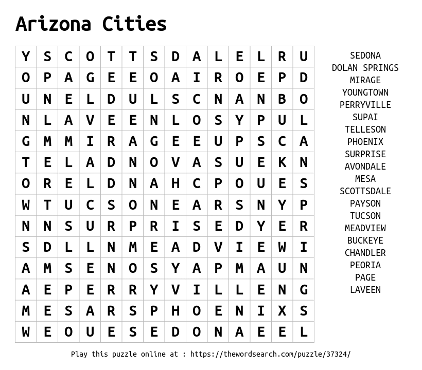 Word Search on Arizona Cities