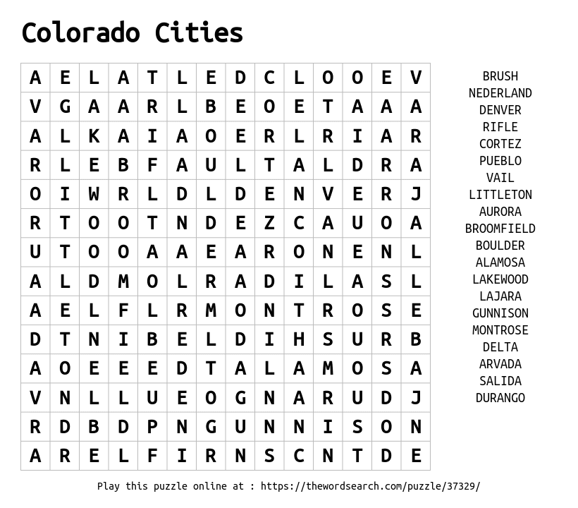 Word Search on Colorado Cities