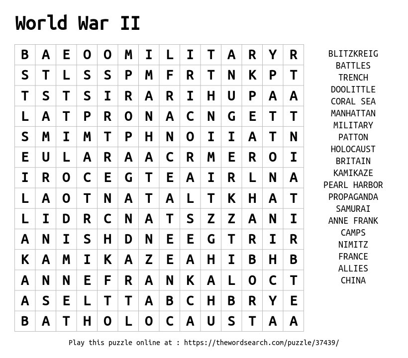 Black Book Car Values >> Download Word Search on World War II