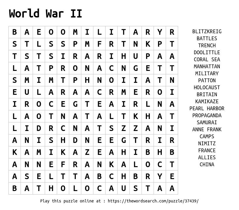 Word Search on World War II