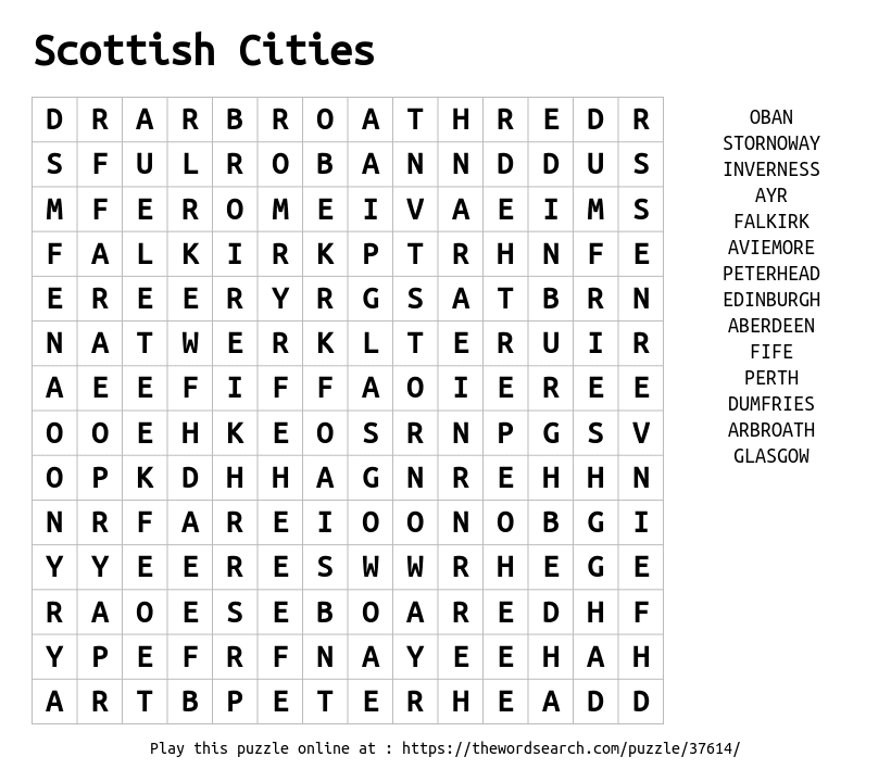 Word Search on Scottish Cities