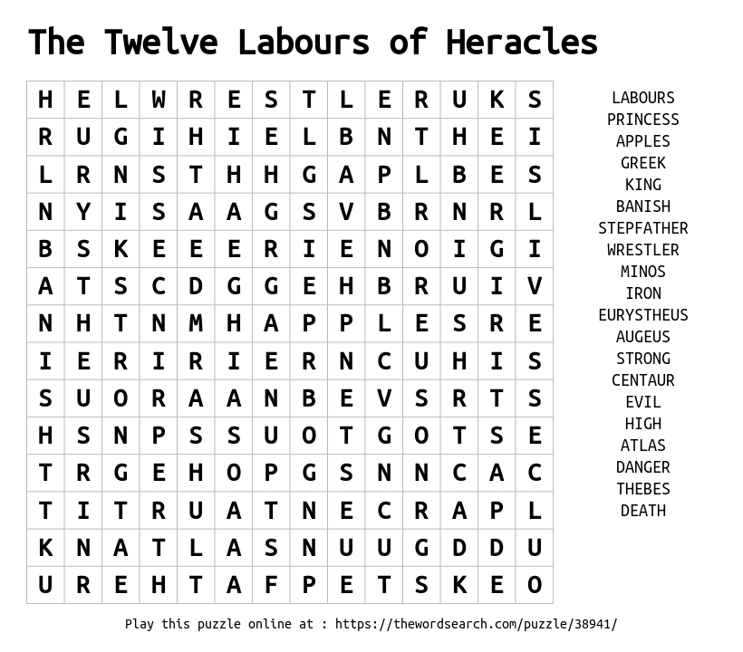 Word Search on The Twelve Labours of Heracles