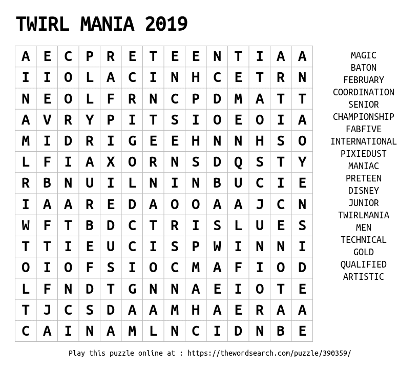 Word Search on TWIRL MANIA 2019