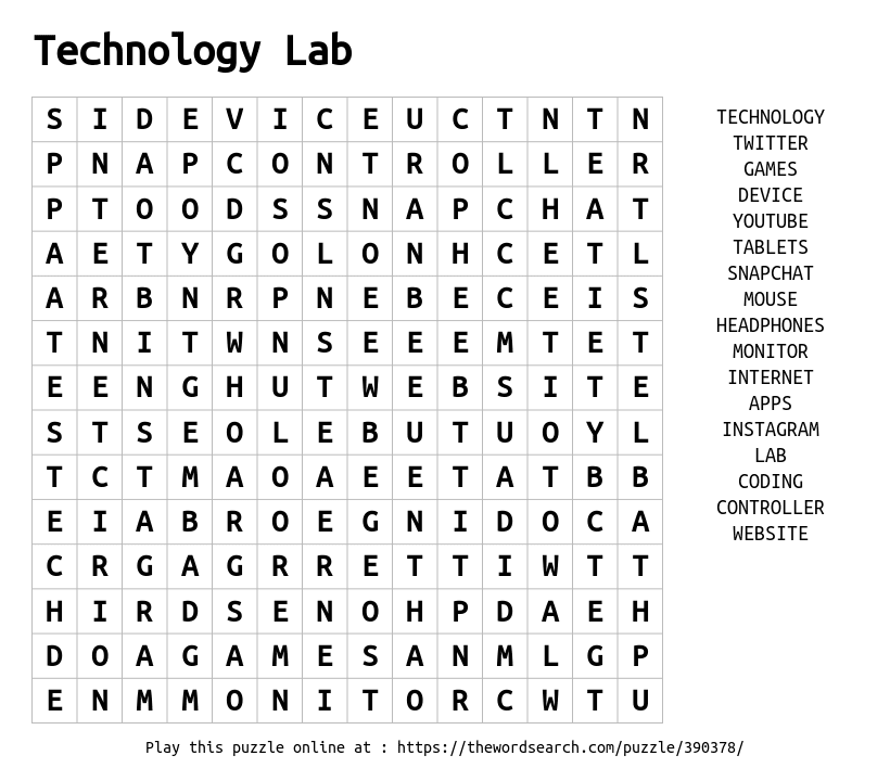 Word Search on Technology Lab