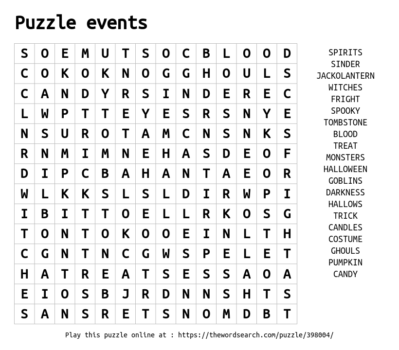 Word Search On Puzzle Events