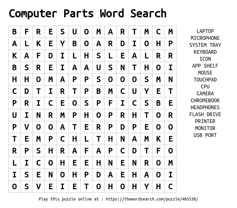 download word search on computer parts word search. Black Bedroom Furniture Sets. Home Design Ideas